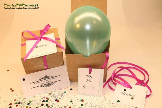 How to ask Maid of Honor Ask Bridesmaid to be in wedding Balloon in gift box tied with your wedding colors