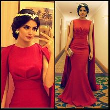 Charme arabe rouge longues robes De soirée 2016 Robe De soirée O Neck avec  volants Cape