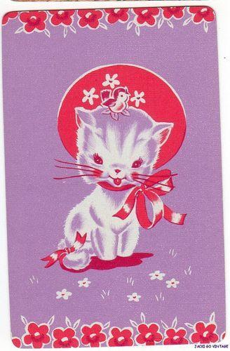 Vintage  Playing  Card Kitten w/ Bonnet & Bird