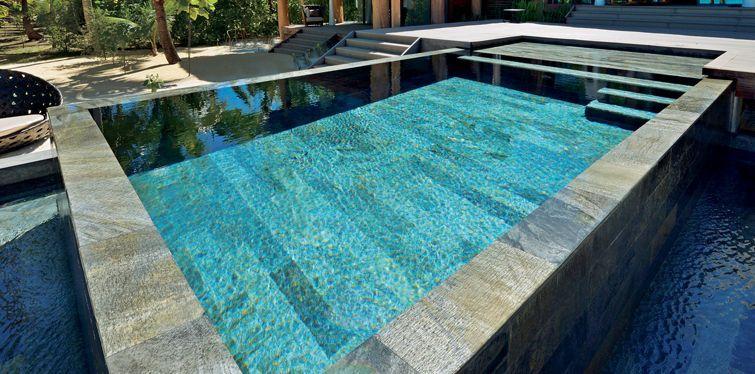 Piscine En Pierre Naturelle Polie 15x60cm En Quartzite Mosaique Piscine Piscine Amenagement Piscine