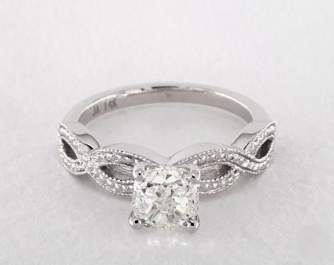 1ct Vintage Inspired Cushion Engagement Ring White Gold