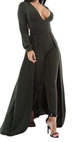 ca8da4846c Women Sexy Plunge V Neck Long Sleeve Long Pants Clubwear Jumpsuit Romper  With Cloak    Click image to review more details. (Note Amazon affiliate  link)