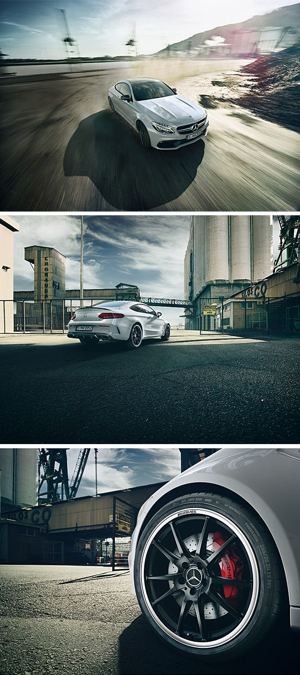 The Mercedes-AMG C 63 S Coupé fascinates with its impressive proportions. [Mercedes-AMG C 63 S Coupé | combined fuel consumption: 8.9-8.6 l/100km|combined CO₂ emissions: 209-200 g/km| http://mb4.me/efficiency_statement]