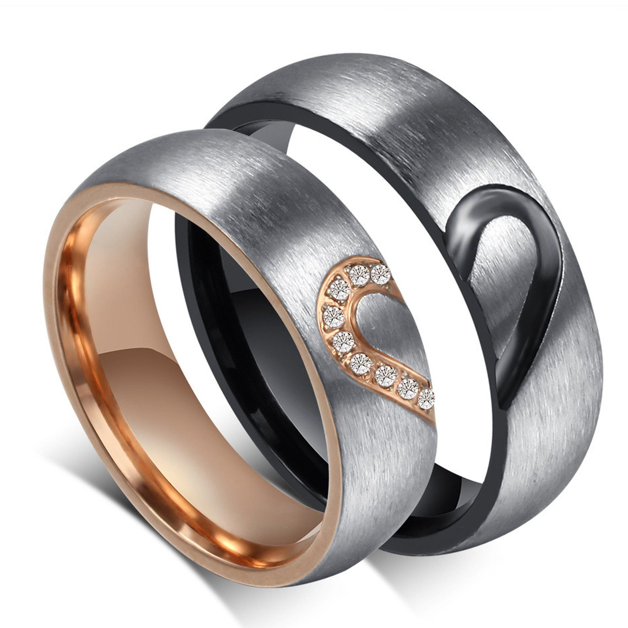 Aij Arcoirisjewelry Couple S Matching Heart Ring His Or Her Matching Wedding Band In Stainless Steel For Men Or Women Comfort Fit Walmart Com Matching Promise Rings Matching Couple Rings Couple Wedding Rings