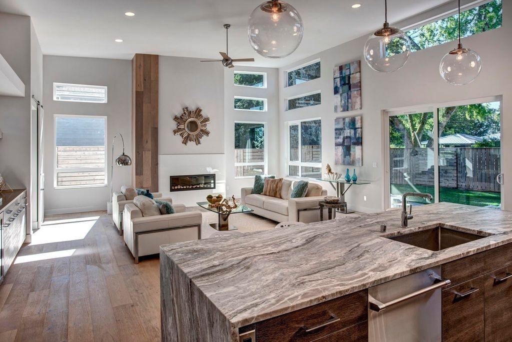 Modern Kitchen With Ms International Fantasy Brown Marble Flush High Ceiling Kitchen Island