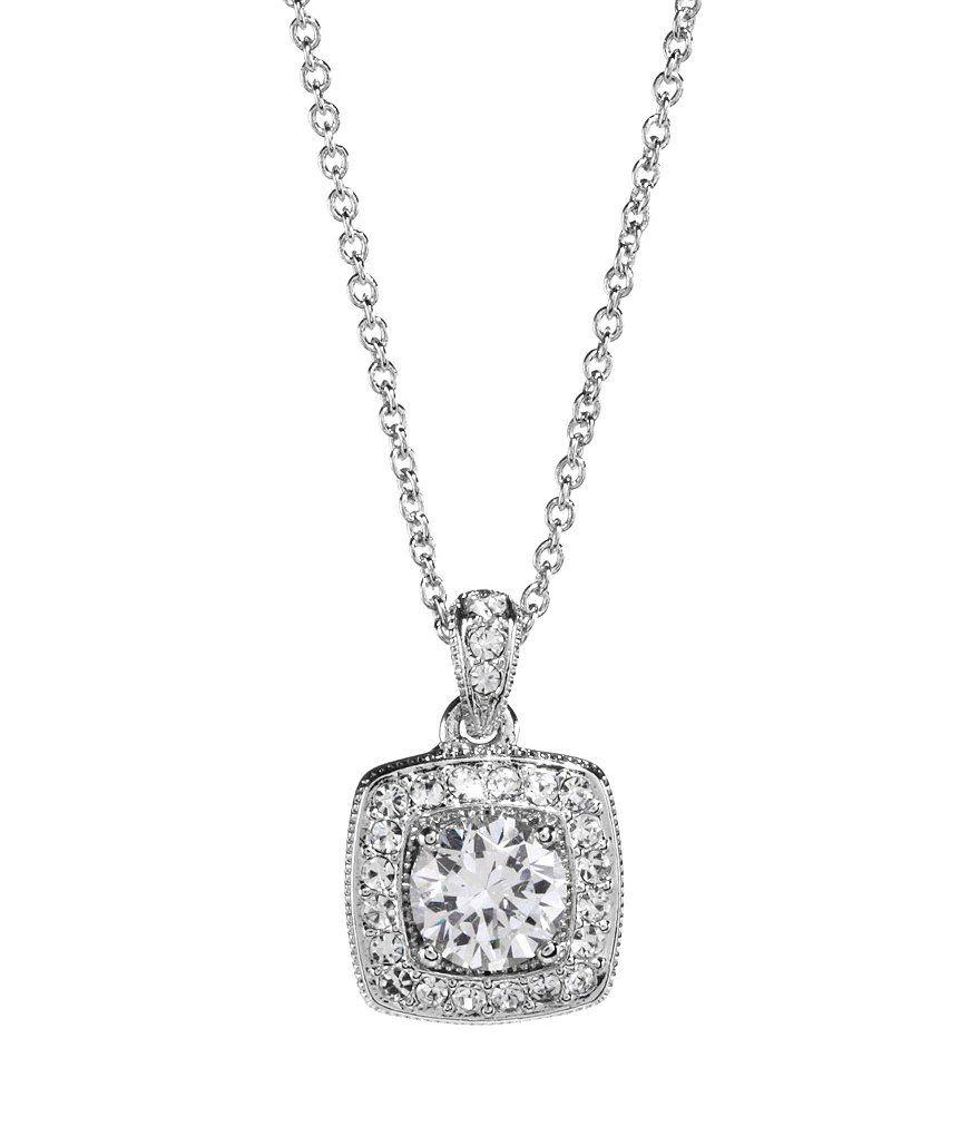 Silver:Nadri Framed Cushion-Cut Cubic Zirconia Pendant Necklace