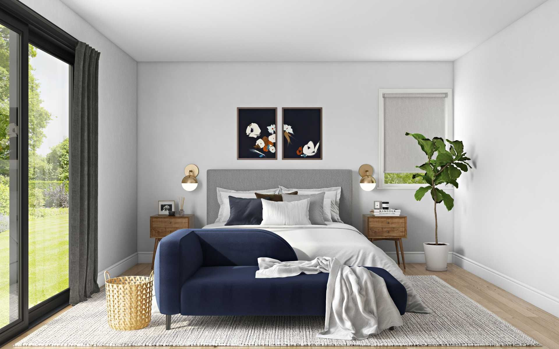 Midcentury Modern Minimal Scandinavian Bedroom Design By Havenly Interior Designer Maria Bedroom Design Scandinavian Design Bedroom Online Interior Design