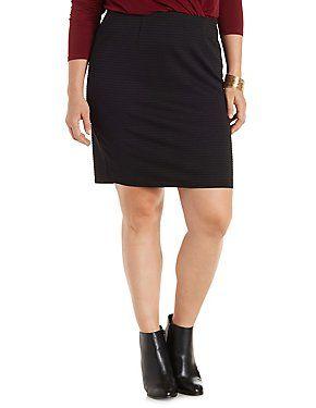 Plus Size Ribbed Bodycon Mini Skirt #plus #plusfashion