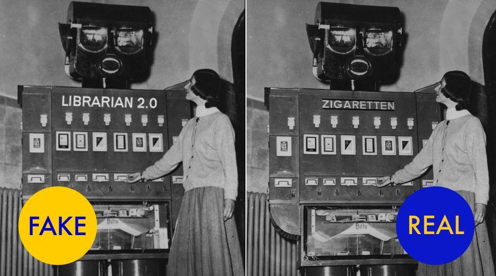 Em um primeiro momento, a foto da esquerda lembra um exemplo de automação dos tempos passados – a promessa de ontem para as livrarias do futuro. Mas trata-se de um trabalho de Photoshop, possivelmente criada no século 21. A foto mostra uma máquina de vendas que distribuía cigarros no Zoológico de Berlim em 1955. De alguma forma, a verdade por trás desta imagem é ainda mais estranha do que a versão fictícia.