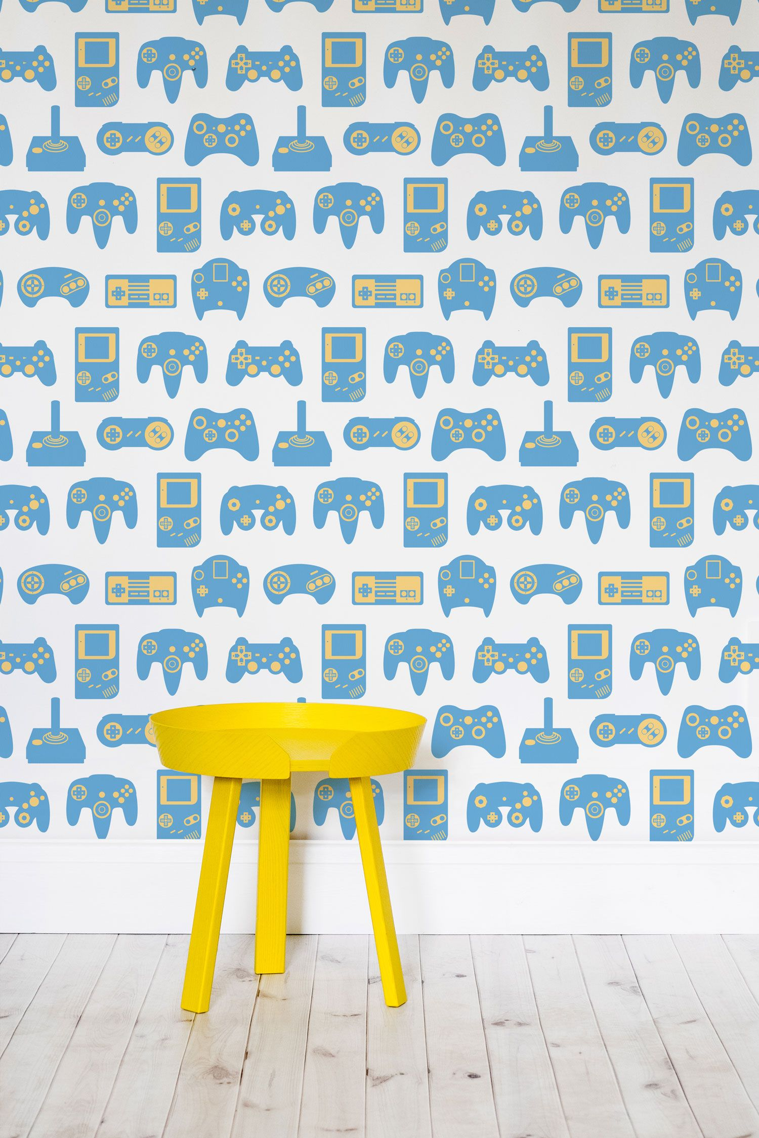 Blue and White Retro Game Wall Mural Retro games