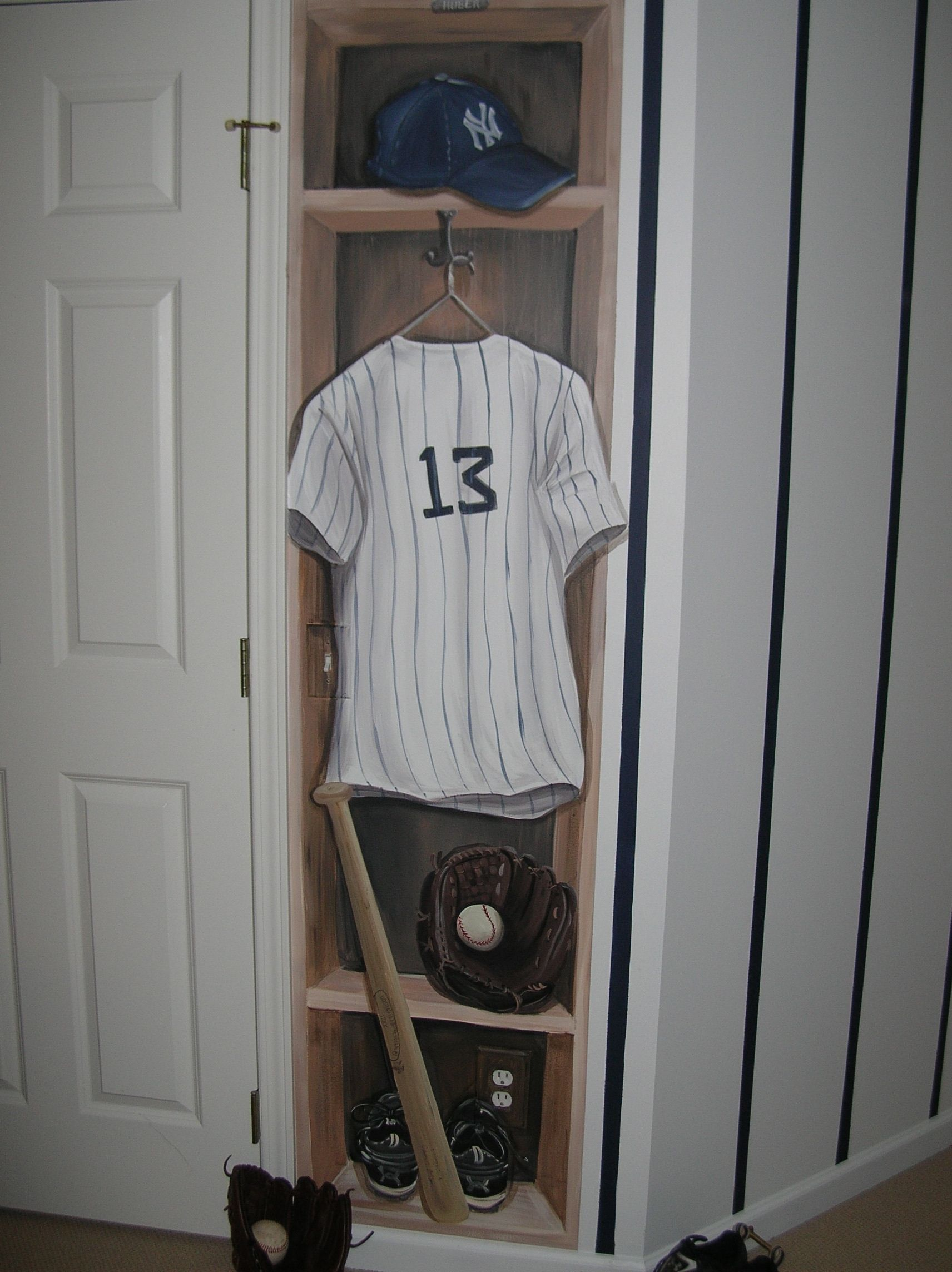 New York Yankees Bedroom Decor Hand Painted Tromp Loiel New York Yankees Locker With Signature