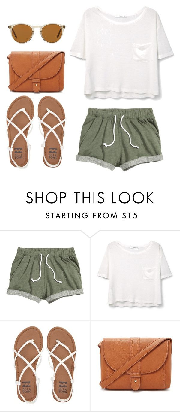 """Look of the Day #118!"" by designer01kitty on Polyvore featuring MANGO, Billabong, Forever 21, Oliver Peoples, natural, lookoftheday and militarygreen"