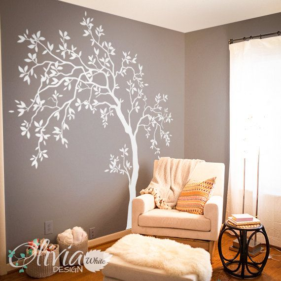 White Large Tree Wall Decal, Tree Wall Decal, Wall Mural Decal, Wall Decal Decor, Nursery Tree Wall Art, Nature Tattoo – NT022