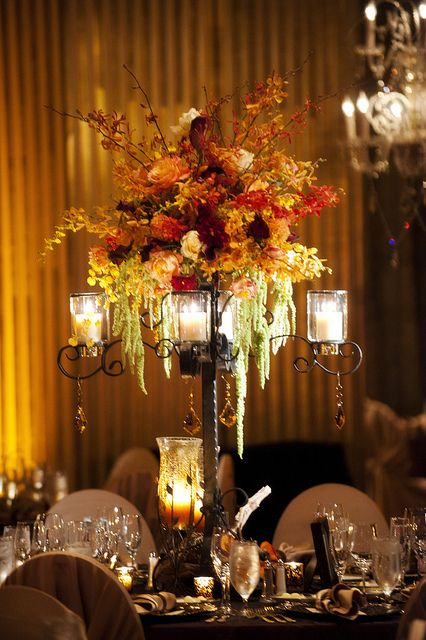 Candelabra arrangement with several different types of