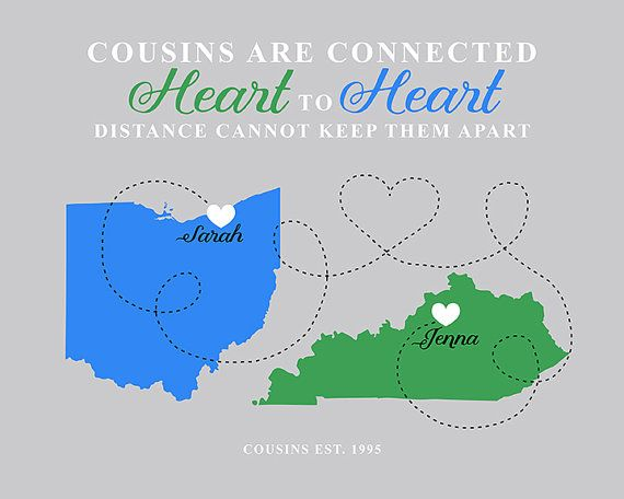 Cousins gift moving away long distance two state or country maps cousins gift moving away long distance two state or country maps canvas negle Images