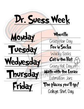 Dr Seuss Week Activities Dr Seuss Dr Seuss Activities Dr Seuss