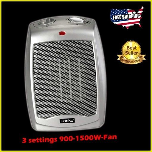 Small Space Heater Ceramic Element Thermostat Office Confined Personal Fan  Indoo