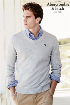 Abercrombie & Fitch Grey V Neck Jumper | STEVE FORTUNE | Mens