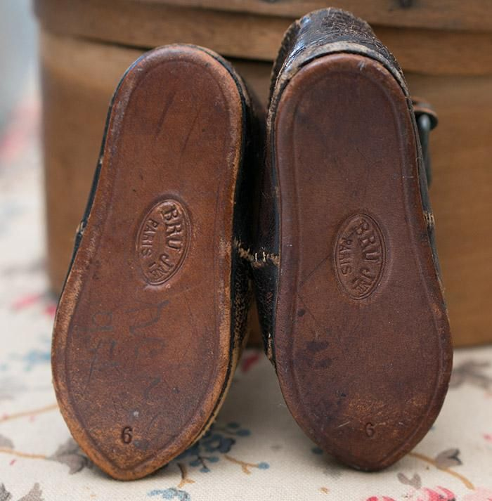 Antique French Original Brown Leather Bru Bebe Doll Shoes That Is