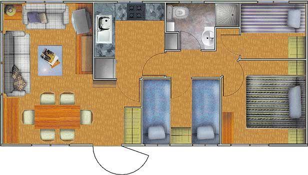Plano De Casa De 40m2 Y 3 Dormitorios Tiny Houses