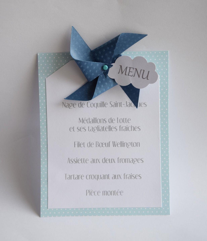 menu avec moulin vent et nuage bapt me communion mariage anniversaire bleu et vert. Black Bedroom Furniture Sets. Home Design Ideas