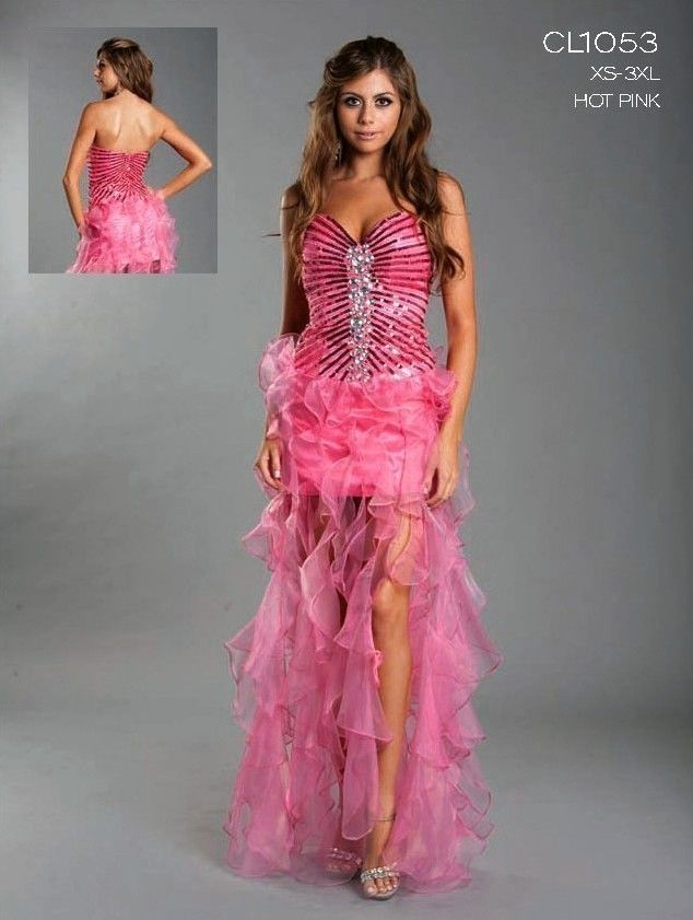 Unique Prom Dresses | ... HOT PINK SWEETHEART STRAPLESS HIGH LOW ...