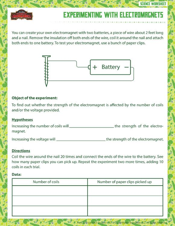 Experimenting with Electromagnets Printable Science Worksheets