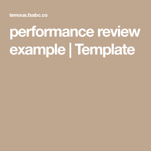 Performance Review Example  Template  Employee Evaluation