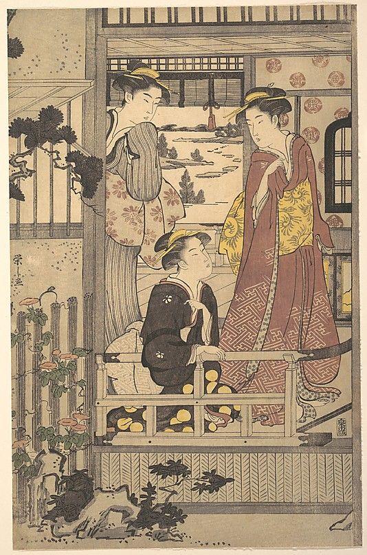 Three Women on a Veranda  Chôbunsai Eishi  (Japanese, 1756–1829)  Period: Edo period (1615–1868) Culture: Japan Medium: Polychrome woodblock print; ink and color on paper