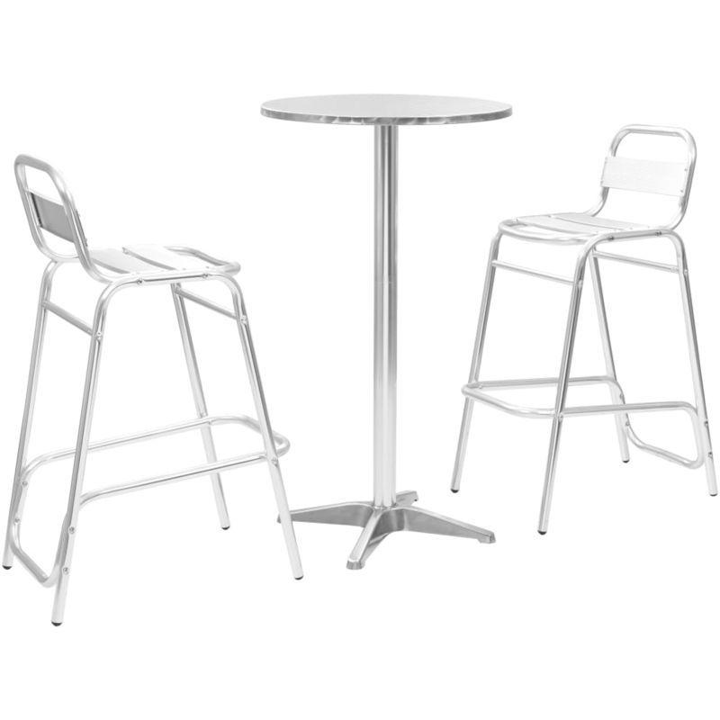 Ensemble de bar 3 pcs avec table ronde Argenté Aluminium ...