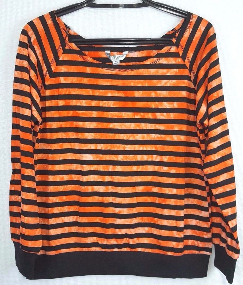 8bcb92ce2262a American Vintage Womens Size XL Orange Black Striped Long Sleeve Top NWT   AmericanVintage  KnitTop  Any