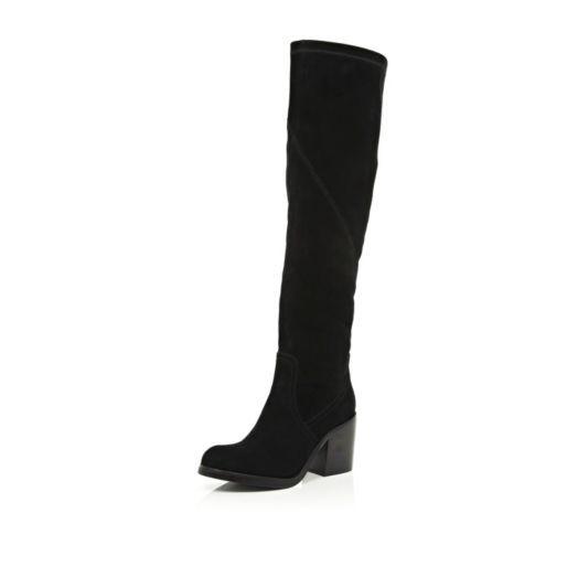 0228a5bd0f3a2 Bottes hautes noires en daim à talon carré - Bottes hautes   mi-mollet -  Chaussures   bottes - femme