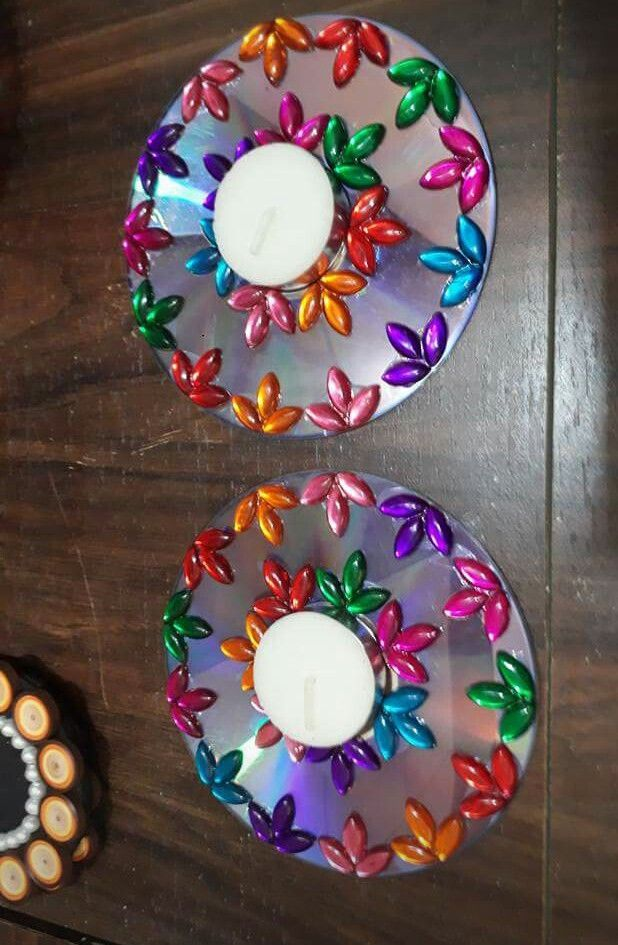 Best 11 Diwali – recycled cd's into decorative tealight stands – #cd39s #Decorative #Diwali #Recycled #stands #tealight – SkillOfKing.Com #recycledcd
