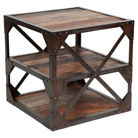 Whitney End Table Rustic Industrial End Tables Wood