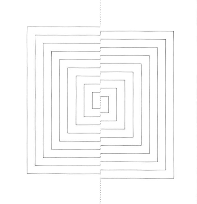 Template For Interlocking Squares Greeting Card Element   D