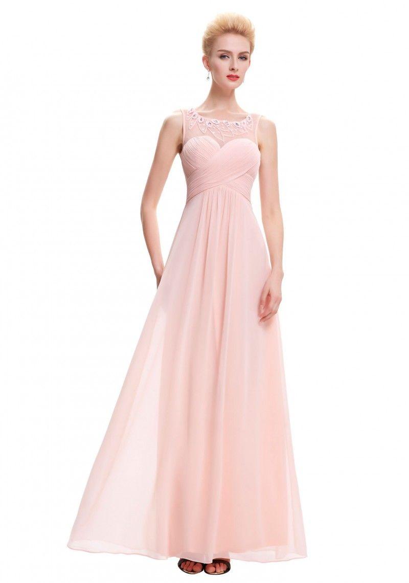 Langes Chiffon Abendkleid in Rosa  Abendkleid, Elegante