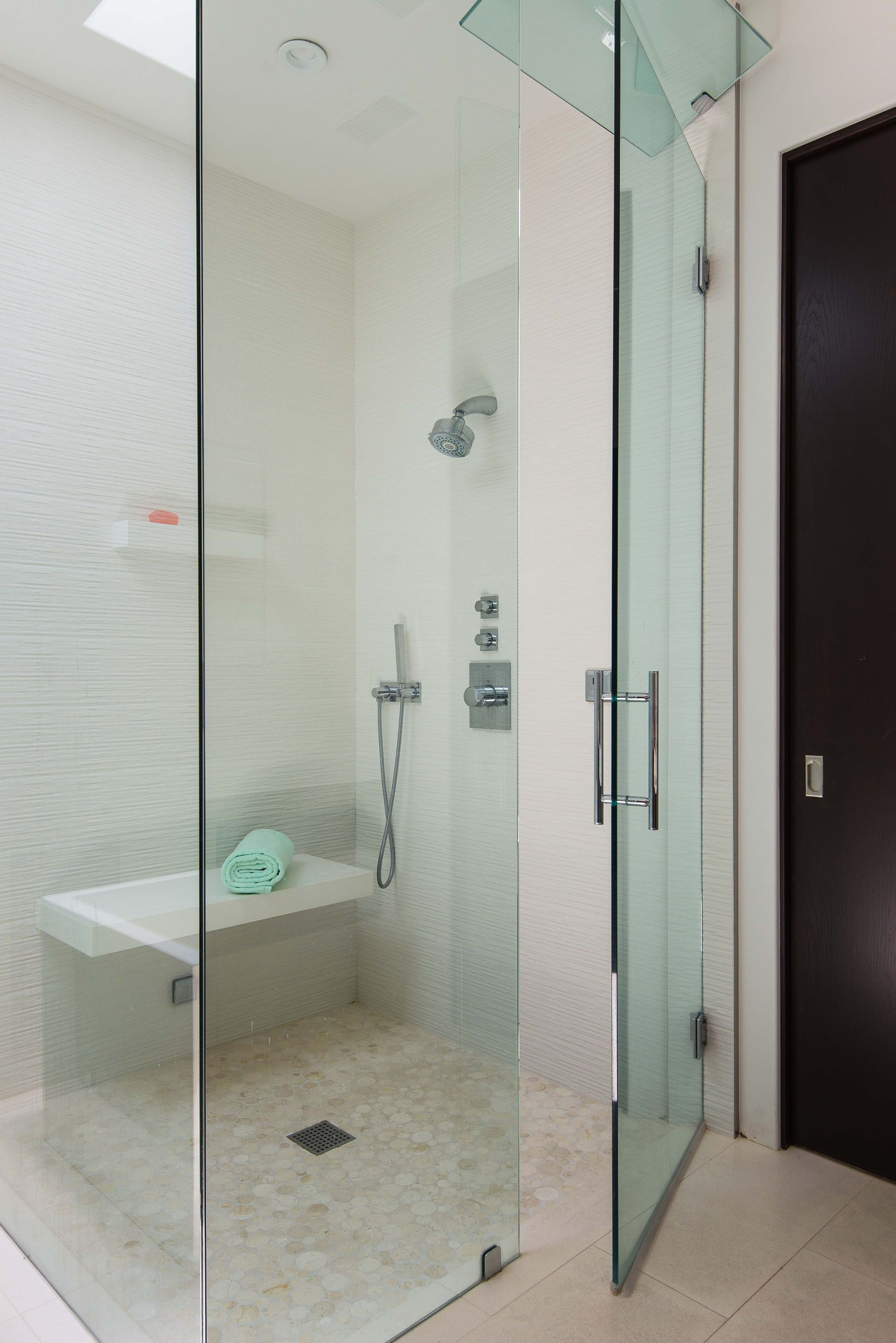 Contemporary Glass Shower Floating Bench Melissa Morgan Design ...