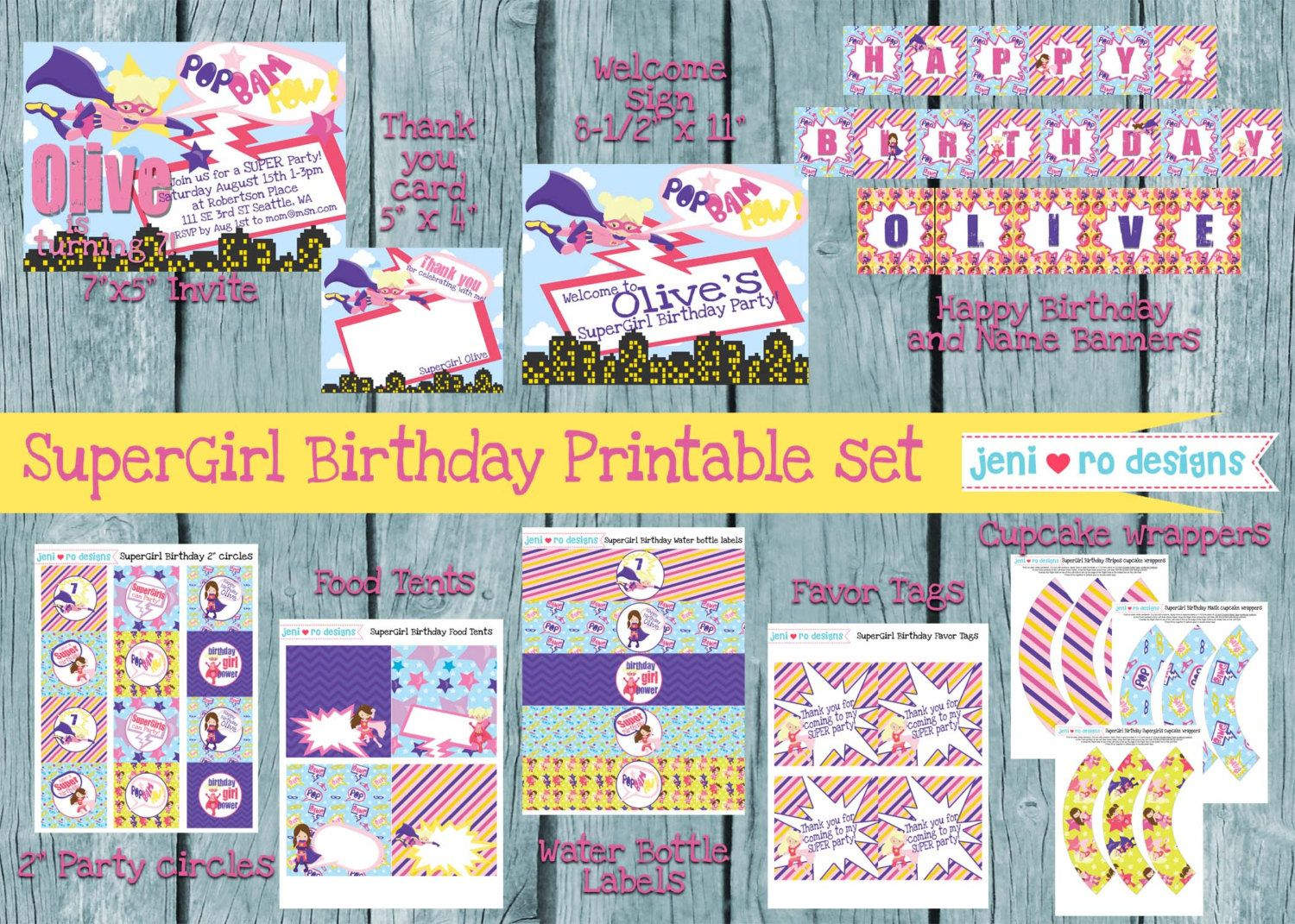 Supergirl Birthday Printable Set Invitation And Thank You Included Jenirodesigns Jpg 1500x1071 Happy Banner