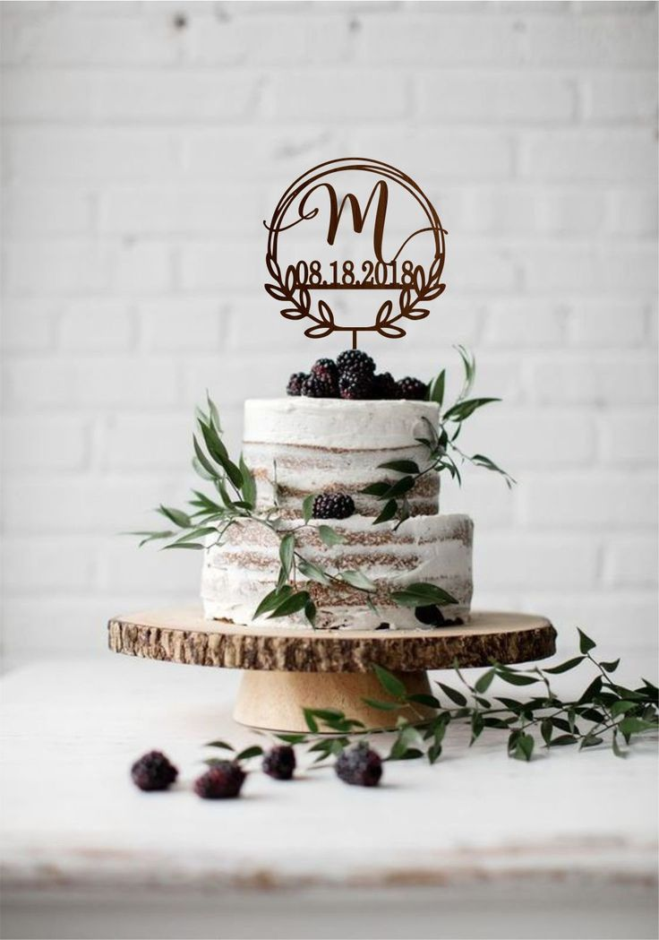 Monogram wedding cake topper with date, Initial we