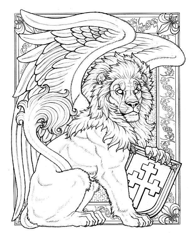 Line Art Of Lion : Boy winged lion line art by synnabar viantart on