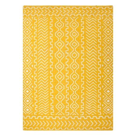 Golden Yellow Patterned Rug Flat Weave Wool Rug Wool Area Rugs