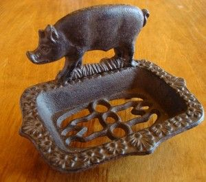 Country Farm Dishes Images Cast Iron Country Pig Rustic Farm Kitchen Or Bathroom Soap Dish Home Pig Kitchen Decor Pig Kitchen Pig Decor