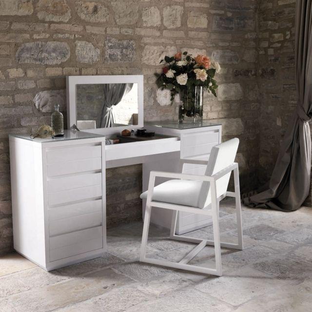 Design Schminktisch moderner design schminktisch weiss holz aufklappbarer spiegel