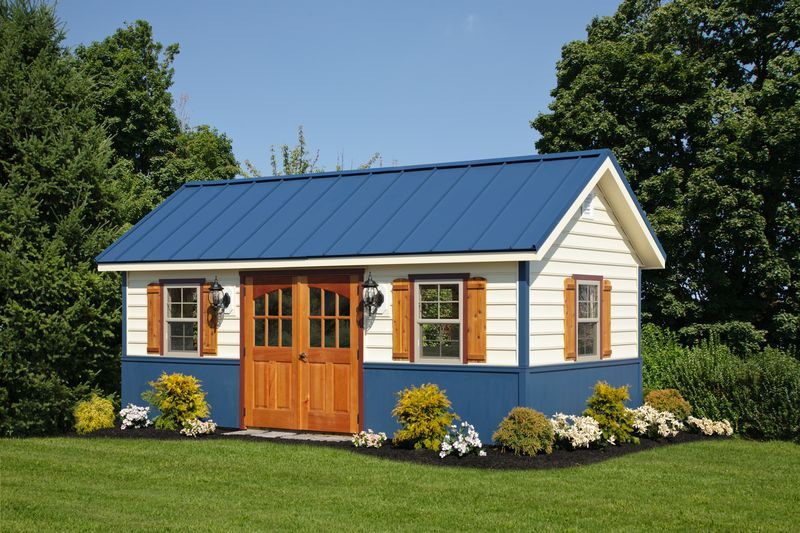 18 Marvelous Garden Shed Designs That Will Attract Your Attention Blue Roof Shed Design House Exterior Colors Blue