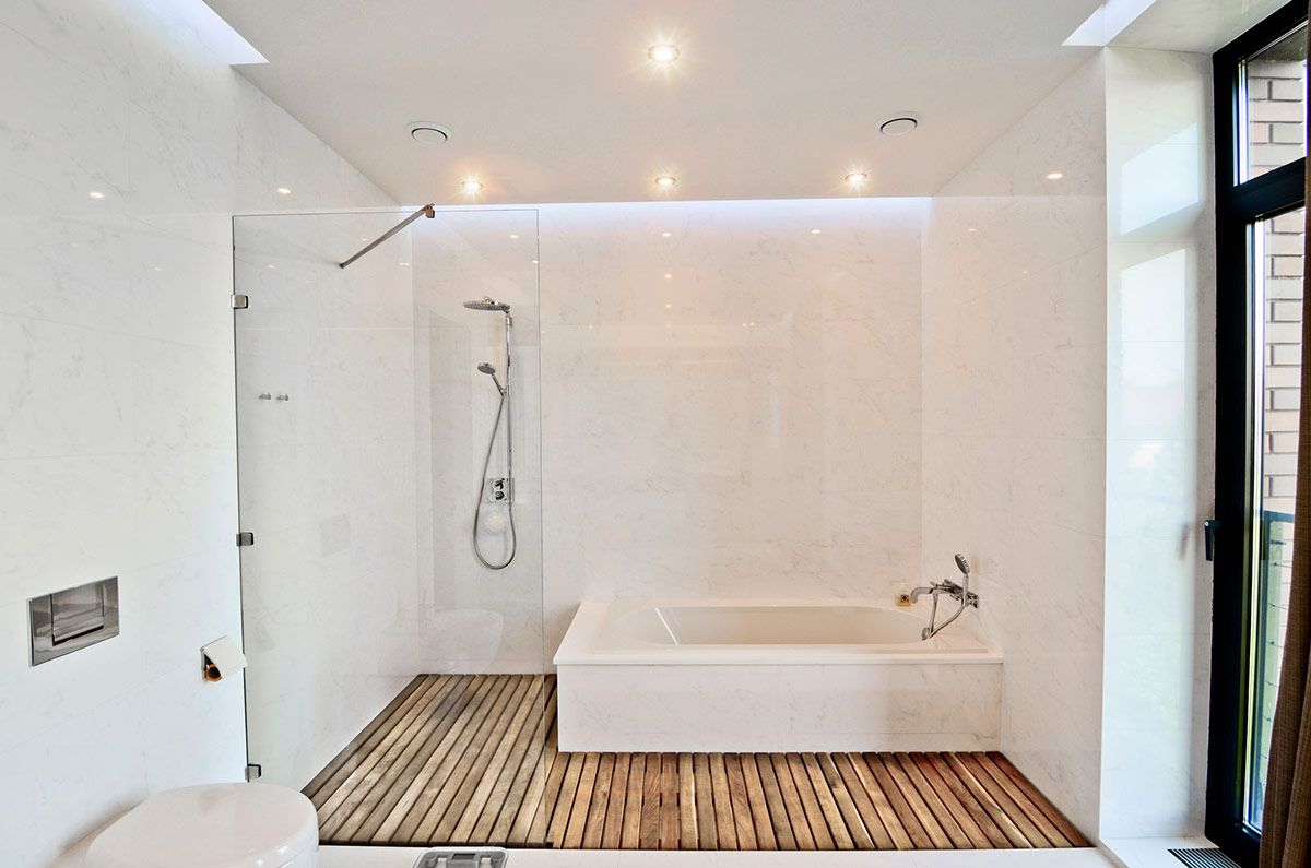 White Bathroom, Glass Shower, Wood Flooring, Large Family ...