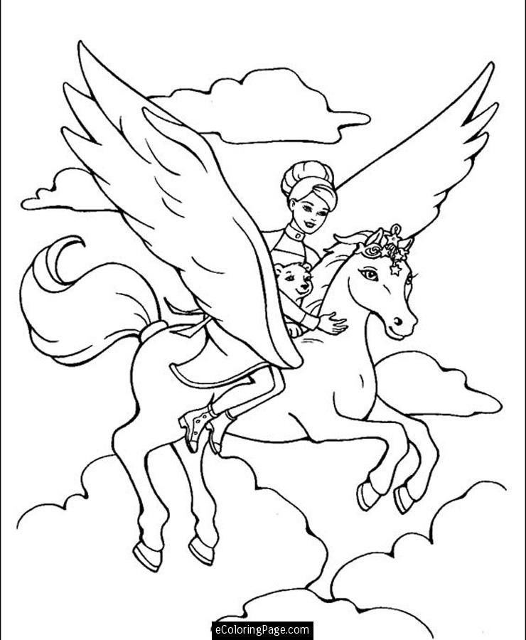 Barbie Horse Coloring Page Youngandtae Com Unicorn Coloring Pages Princess Coloring Pages Fairy Coloring Pages