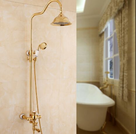 Charming Bathroom Shower Set Brass Gold Wall Mounted Shower Faucet Set 8