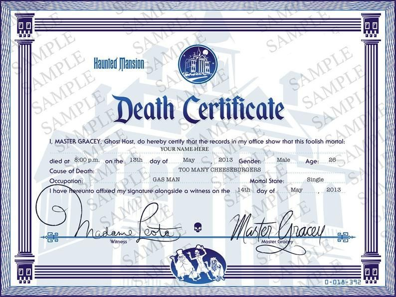 Downloadable Disneyland Haunted Mansion Death Certificate Etsy Disney Haunted Mansion Haunted Mansion Halloween Haunted Mansion