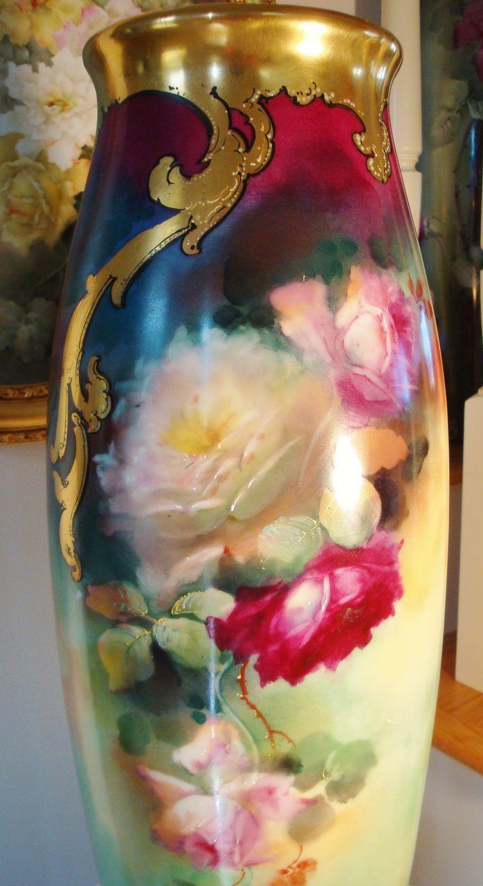 Outstanding HUGE Antique Limoges France 22 Floor Vase Gorgeous Roses~ Artist signed Seidel Master China Painter~ Pickard Artist!~Fine Museum Quality~