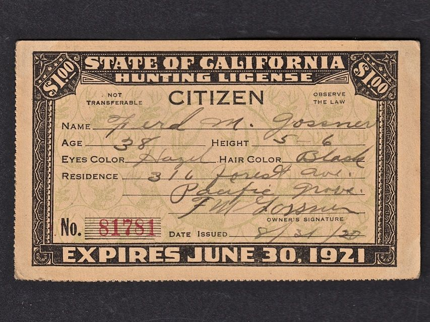state of california hunting license citizen, 1920 deer head